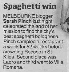 Herald Sun spag blog coverage